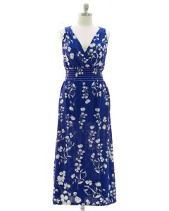 Plus Crochet Back Floral Maxi - Blue