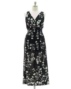 Plus Crochet Back Floral Maxi - Black