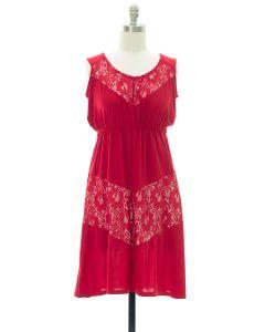 Lace Panel Midi Dress - Red