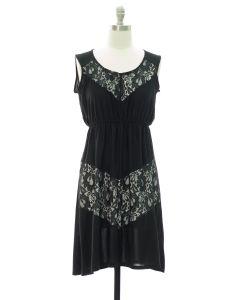 Lace Panel Midi Dress - Black