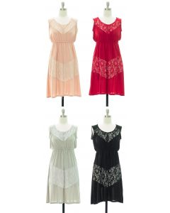 Lace Panel Midi Dress - Assorted