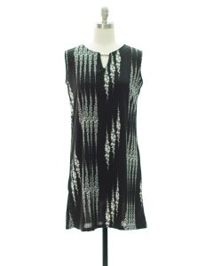 Sleeveless Bar Yoke Midi Dress - Black