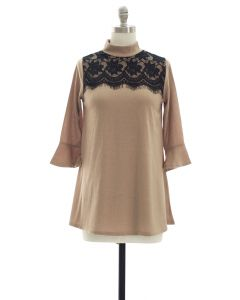 Lace Yoke Bell Sleeve Tunic Top - Tan