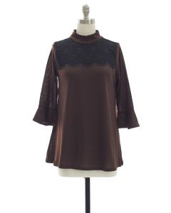 Lace Yoke Bell Sleeve Tunic Top - Brown