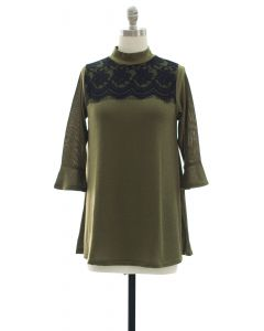 Lace Yoke Bell Sleeve Tunic Top - Olive