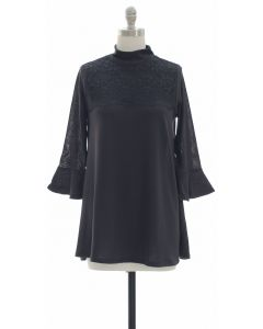 Lace Yoke Bell Sleeve Tunic Top - Black