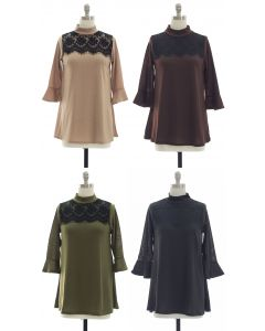 Lace Yoke Bell Sleeve Tunic Top - Assorted