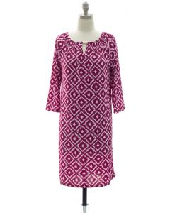 3/4 Jewel Yoke Ikat Dress - Purple