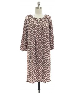 3/4 Jewel Yoke Ikat Dress - Taupe