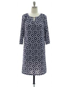 3/4 Jewel Yoke Ikat Dress - Navy