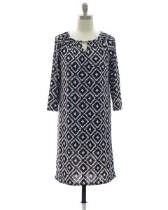 3/4 Jewel Yoke Ikat Dress - Black