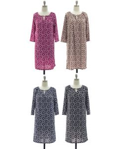 3/4 Jewel Yoke Ikat Dress - Assorted