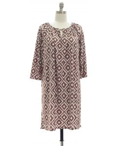 Ikat Jewel Dress - Taupe