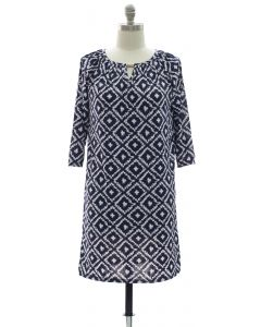 Ikat Jewel Dress - Navy