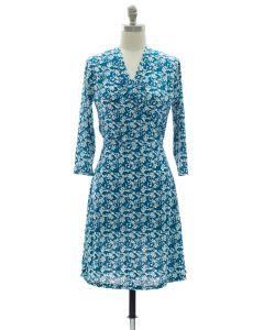 Floral Faux Wrap Dress - Blue