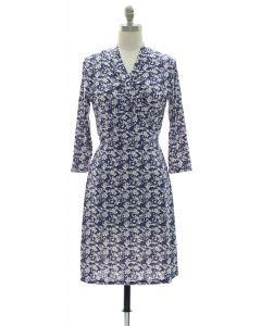 Floral Faux Wrap Dress - Navy