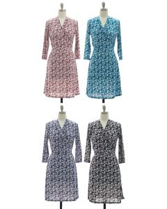 Floral Faux Wrap Dress - Assorted