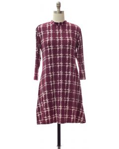 Yummy Printed Mandarin Collar Dress - Plum