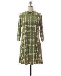 Yummy Printed Mandarin Collar Dress - Olive