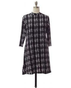 Yummy Printed Mandarin Collar Dress - Black