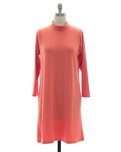 Mandarin Collar Shift Dress - Coral