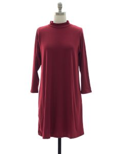 Mandarin Collar Shift Dress - Burgundy