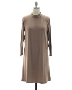 Mandarin Collar Shift Dress - Taupe