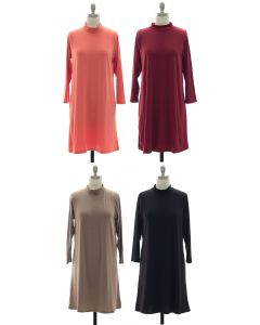 Mandarin Collar Shift Dress - Assorted