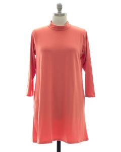 Plus Mandarin Collar Shift Dress - Coral