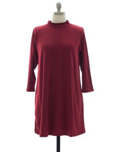 Plus Mandarin Collar Shift Dress - Burgundy