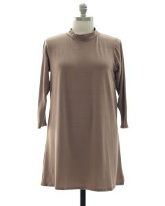 Plus Mandarin Collar Shift Dress - Taupe
