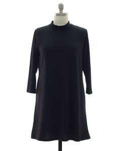 Plus Mandarin Collar Shift Dress - Black