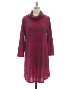 Hacci Cowl Neck Dress - Burgundy