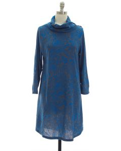Hacci Cowl Neck Dress - Blue