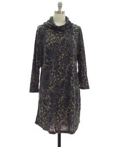 Hacci Cowl Neck Dress - Charcoal