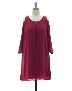 3/4 Sleeve Chiffon Cold Shoulder Dress - Oxblood