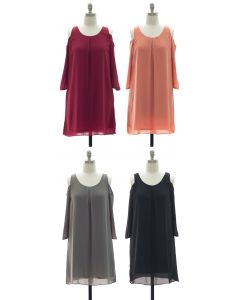 3/4 Sleeve Chiffon Cold Shoulder Dress - Assorted