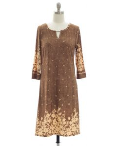 Jean Print Jewel Neck Dress - Brown