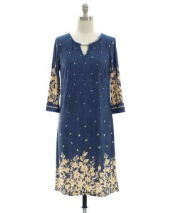 Jean Print Jewel Neck Dress - Blue