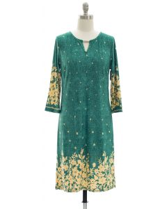 Jean Print Jewel Neck Dress - Green