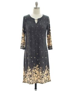 Jean Print Jewel Neck Dress - Black