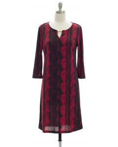 Animal Print Jewel Neck Dress - Crimson Red