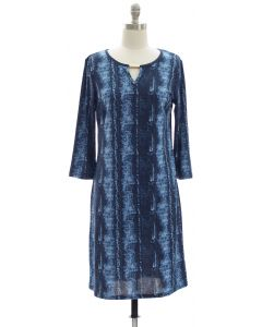 Animal Print Jewel Neck Dress - Blue