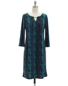 Animal Print Jewel Neck Dress - Teal