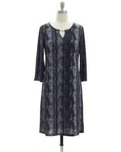 Animal Print Jewel Neck Dress - Black