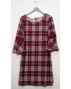 Plaid Crochet Sleeve Dress - Wine