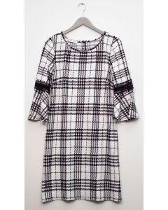 Plaid Crochet Sleeve Dress - White