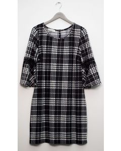 Plaid Crochet Sleeve Dress - Black