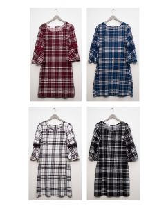 Plaid Crochet Sleeve Dress - Assorted