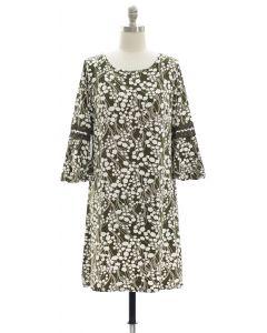 Crochet Sleeve Yummy Dress - Olive